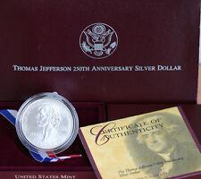1993 Thomas Jefferson 250th Anniversary BU 90% Silver Dollar Coin Box and COA