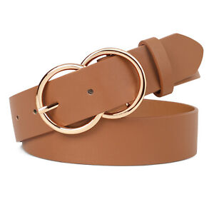 Fashion Ladies Leather Belt Gold Double Ring Buckle Soft Strap 4 Colors Gifts US