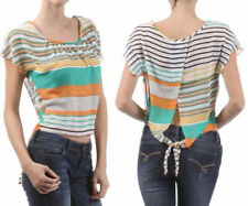 New Women's Juniors Chiffon Sheer Blouse Striped Vented Open Back Tie Top