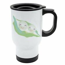 Travel Mug - Peas in a pod - White Stainless Steel - Love, Food, Quotes - Reusab
