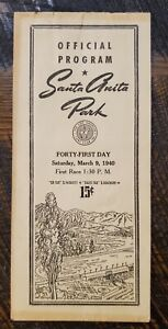 1940 Santa Anita Racing Program - Kentucky Derby Winner GALLAHADION, MIOLAND
