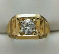 14k Yellow Gold Men's 1.08ct Round Brilliant Diamond Ring Size 9.5 GIA CERTIFIED