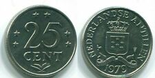 1979 NETHERLANDS ANTILLES 25 CENTS Nickel Colonial Coin #S11652C