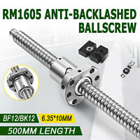 1 ANTI BACKLASH BALLSCREW BALL SCREWS RM1605-500MM-C7+BK/BF12+2PCS COUPLERS