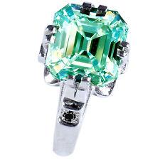 2.51 ct VVS1/=NATURAL BLUE GREEN REAL EMERALD MOISSANITE DIAMOND SILVER RING