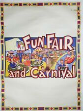 Original Vintage 1930-40's Linen Backed CARNIVAL & FUN FAIR Poster Willsons Leic