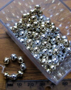 150 faceted round metallic acrylic plastic ball beads disco gold silver shiny
