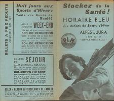 ALPES & JURA  BROCHURE HORAIRES PLM 1936