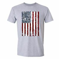 American Flag distressed 4th of July T-shirt Clothing USA Pride Shirt Gray