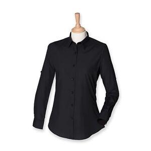 SF Ladies Women's Roll Up Option Long Sleeve Shirt Black SK550