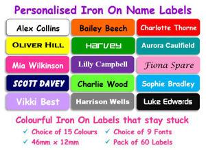 60 Iron on Name Labels Personalised School Uniform Clothing Tags Waterproof RI05