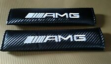 AMG Mercedes Benz AMG Seat Belt Cover Pads x2 Carbon New