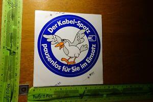 Alter Aufkleber TV Radio KABELANSCHLUSS Der Kabel-Spatz pausenlos für Sie im...