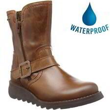 Fly London Seku GTX Womens Ladies Brown Waterproof Slip On Chelsea Ankle Boots