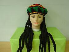 Bob Marley Jamaican Rasta Beanie Hat With Dreadlocks Wig Fancy Dress
