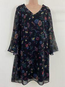 Black oriental floral print chiffon smock tea dress size 10