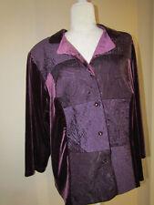 K Woman Purple Velour Blouse 3/4 Sleeve  Plus Size 18W Patchwork front panel