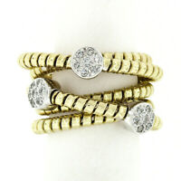 18k TT Gold Round Diamond Cluster Wide Multi-Crossover Statement Band Ring Sz 6