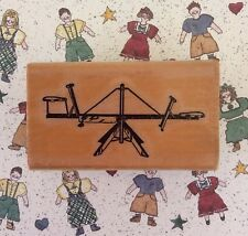 Vintage Seesaw Toy Wood Mount Rubber Stamp Teeter Totter Playground School Scene