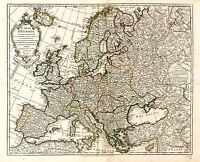 MAP ANTIQUE L'ISLE 1769 EUROPE OLD HISTORIC LARGE REPLICA POSTER PRINT PAM0975