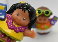 Fisher Price Little People Hawaiian Tourist Lot of 2 both holding cell phones