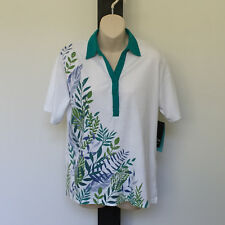 'BLACK PEPPER' BNWT SIZE '10' WHITE, GREEN & BLUE BEADED SHORT SLEEVE POLO SHIRT