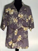 Tommy Bahama Floral Size XL 100% Silk Short Sleeve Button-Front Hawaiian Shirt