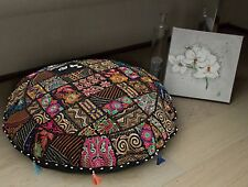 "32"" Indian Vintage Round Floor Pillow Bohemian Patchwork Cushion Case Ethnic"