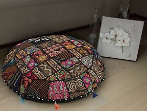 "18"" Indian Vintage Round Floor Pillows Bohemian Patchwork Cushion Cover Cotton"