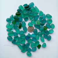 sea beach glass 20 pieces  teal blue-green 12-18 mm lot bulk jewelry use