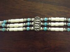 Native American Indian Silver Blue Turquoise Beads Buffalo Bone Choker Necklace