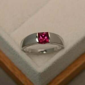 1.5 Ct Ruby Spectacular Men's Engagement & Wedding Solitaire Ring 14K White Gold