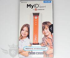 New Endevr MyID Sport for Kids Medical ID Bracelet - Salmon/White - Size Kids