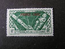 "FRENCH POLYNESIA, SCOTT # 133, 10fr. VALUE DARK GREEN 1941 ""FRANCE LIBRE"" MVLH"