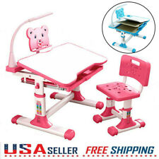 Children Adjustable Desk and Chair Set Student Kids Study Table With Drawer Lamp