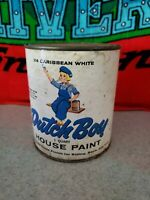 Vintage Dutch Boy Paint Can Display rare paper label white 1 quart