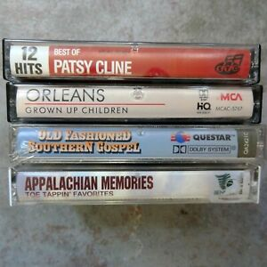 Lot: 4 new and used audio cassette tapes, Country music, Patsy Cline, Orleans