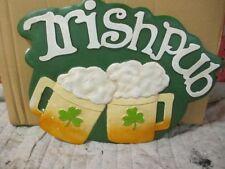 IRISH PUB PLAQUE/Sign  - Wall Mount CERAMIC NEW ST PATRICKS DAY BAR MAN CAVE