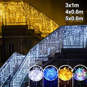 Eisregen Lichterkette Außen LED Eiszapfen Lichter Vorhang Weihnachtsbeleuchtung