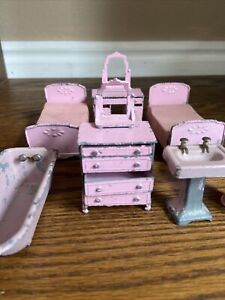 Vintage Tootsie Toy Pink Metal Bedroom Bathroom Set Dollhouse Furniture 8 Pc