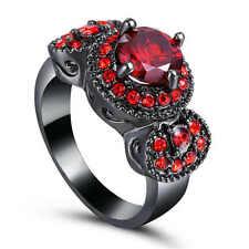 New fashion Ruby 18k Black gold filled Fashion Gemstone Ring Size 6