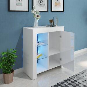 Modern LED Buffet Sideboard High Gloss Furniture Cabinet Storage White MLZ10