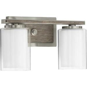 Mast 2- Light Brushed Nickel Bath Light by Progress Lighting