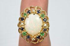 Women's RARE VTG. Halo Cluster Opal Diamond Emerald Sapphire 3.33ct 14k Ring