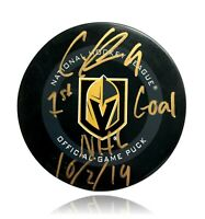 "Cody Glass Signed Vegas Knights Authentic Puck Inscribed ""1st Goal"" PSA COA Auto"