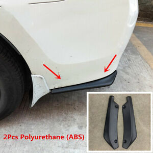 2Pcs Polyurethane ABS Car Bumper Spoiler Rear Lip Scratch Resistant Wingle Black