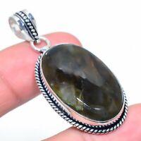 "Labradorite Gemstone Handmade 925 Silver Jewelry Pendant 2.01"" VJ-14858"