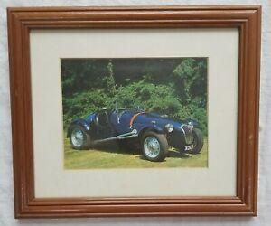 """2 Classic Cars Wooden Frame Colour Photos Frazer Nash Bentley Saloon 10"""" x 12"""""""