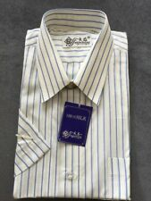 100% Pure Silk Mens Strip Desigh Short Sleeve Shirt Size 40 Brand Mew