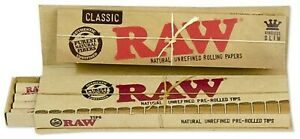 3x RAW Classic Connoisseur King Size Papier + Prerolled Filtertips Papers Joint
